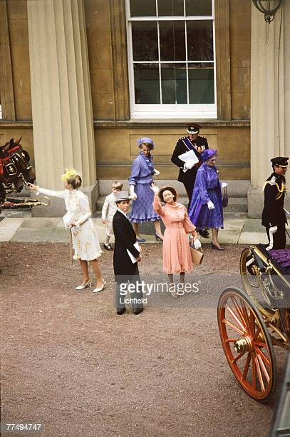 HRH The Princess Margaret waving from the Courtyard at Buckingham Palace after the Royal Wedding on 29th July 1981 HRH The Princess Anne The Earl of...