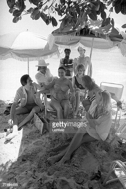 The Princess Margaret with friends including The Hon Colin Tennant, Lady Anne Tennant, Mr Basil Charles and Mr Nicholas Courtney on Mustique on 9th...
