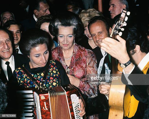 The Princess Margarita and her mother the Countess of Barcelona at the party the day before her wedding 11th October 1972 Estoril Portugal