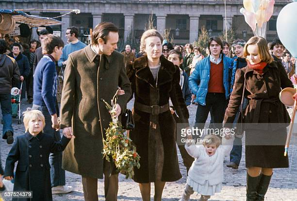 The Princess Margarita of Borbon and her husband Carlos Zurita at the Christmas's market of the Plaza Mayor with their children Alfonso and Maria...