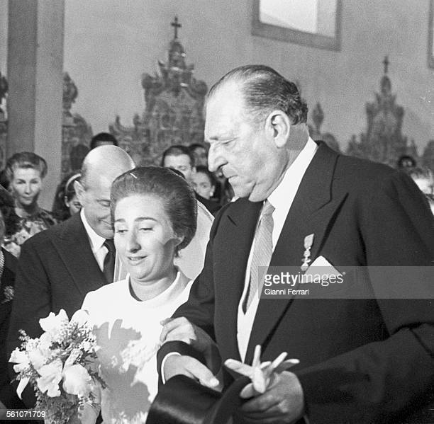 The Princess Margarita of Borbon on her wedding day with her father Don Juan de Borbon Estoril Spain