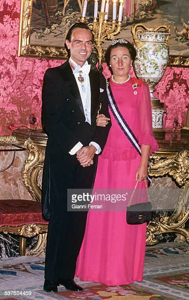 The Princess Margarita of Borbon sister of King Juan Carlos of Borbon with her husband Carlos Zurita at the Royal Palace Madrid Spain /