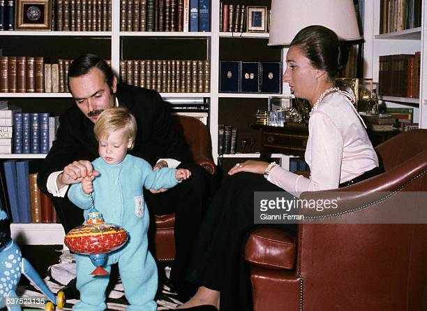 The Princess Margarita of Boubon sistter of the King Juan Carlos and Carlos Zurita with their son Alfonso at home Madrid Spain