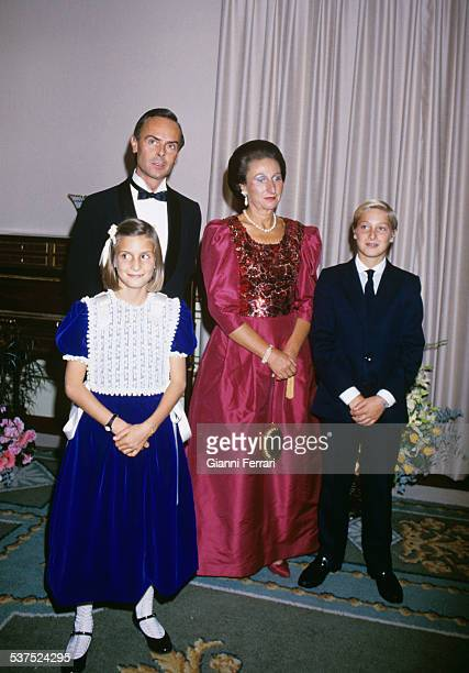 The Princess Margarita sister of the King Juan Carlos with her husband Carlos Zurita and her children Alfonso and Maria Madrid Spain