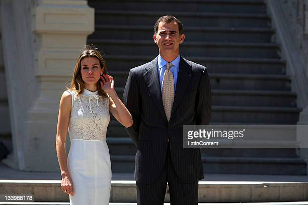 The Princess of Asturias Felipe de Borbon and Letizia Ortiz during his official visit to Chile attending the inauguration of a photographic...