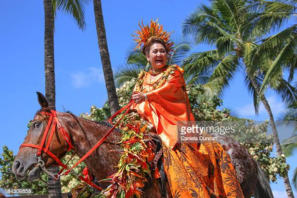 The Princess of Lanai representing Hawaiian Royalty at the Flower Parade in Oahu, during the Aloha Festivals. Aloha Festivals celebrate Hawaiian...