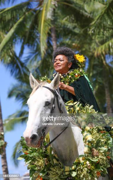 The Princess of Molokai, representing Hawaiian Royalty at the Flower Parade in Oahu, during the Aloha Festivals. Aloha Festivals celebrate Hawaiian...