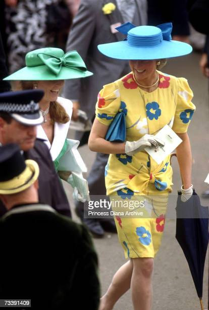 The Princess of Wales and the Duchess of York in the Royal Enclosure at an Ascot race meeting June 1987