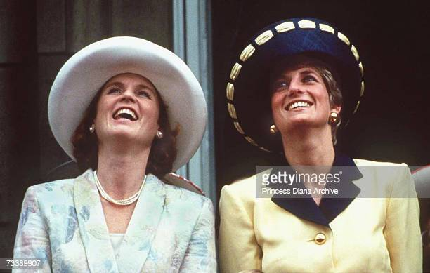 The Princess of Wales and the Duchess of York on the balcony of Buckingham Palace during the Trooping the Colour ceremony, June 1991. The Princess is...