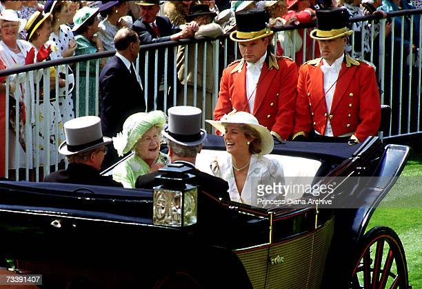 The Princess of Wales and the Queen Mother in an open topped landau at the Ascot race course June 1987