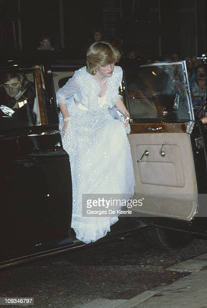 The Princess of Wales arrives at St David's Hall in Cardiff for a charity concert October 1982 She wears a gown by the Emmanuels