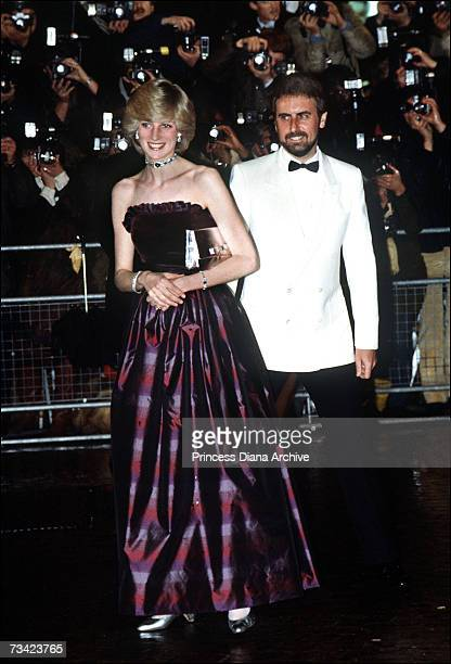 The Princess of Wales arrives at the film premiere of 'ET' in London's West End December 1982 She wears a dress by Gina Frattini