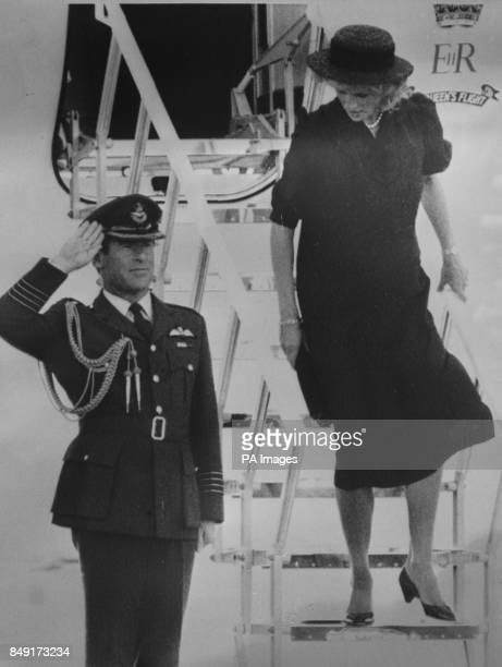 The Princess of Wales arrives in Aberdeen airport Scotland to continue her holiday after she had flown to Sandringham for the funeral of her uncle...