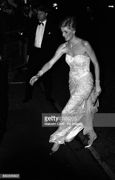 The Princess of Wales arriving at the 500ahead Savoy Centenary Ball in London CanCan dancers from Paris's legendary Moulin Rouge performed at the...