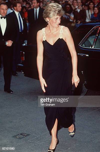 The Princess Of Wales Arriving At The Premiere Of The Film 'backdraft' In Leicester Square In A Black Dress Designed By David Sassoon And Lorcan...