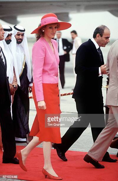 The Princess Of Wales Arriving In Kuwait On The Gulf Tour