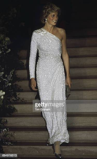 The Princess of Wales at a gala dinner at the National Gallery in Washington DC 11th November 1985 She is wearing a white crystalbeaded silk chiffon...