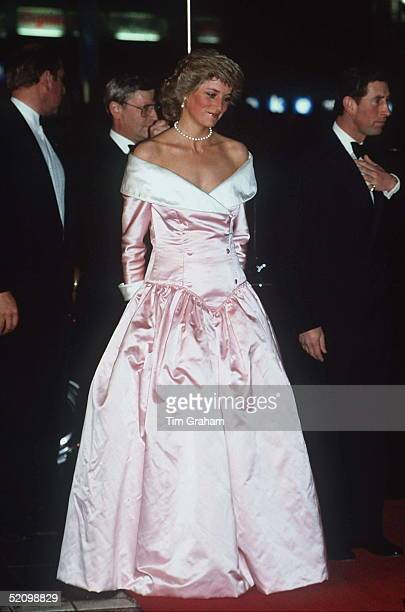 The Princess Of Wales At A Gala Performance By The Royal Ballet At The Berlin Opera House, Germany Accompanied By The Prince Of Wales. Wearing A Pale...