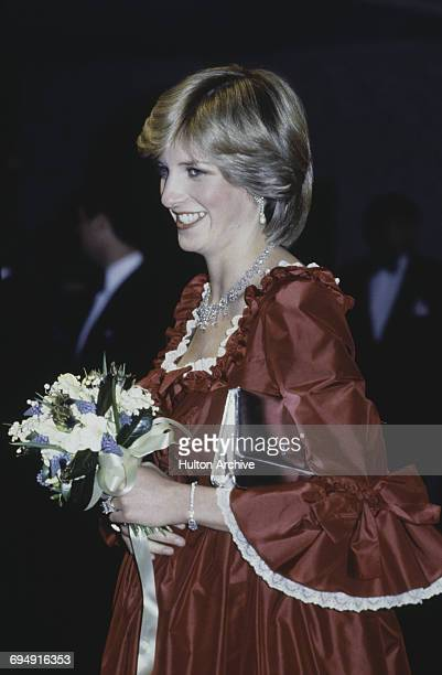 The Princess of Wales at a Royal Gala Performance that opened the Barbican Arts Centre in London 4th March 1982 She is wearing a full length red...