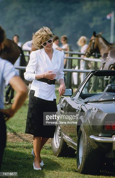 The Princess of Wales at Smiths Lawn in the Guards Polo Club, Windsor, July 1986.