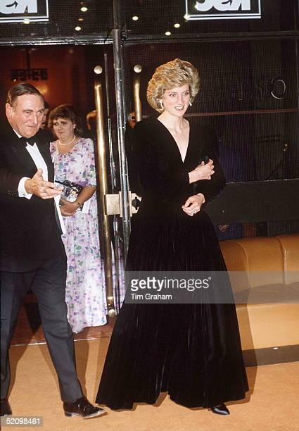 The Princess Of Wales At The Barbican For A Performance Of 'les Miserables' Wearing A Black Velvet Evening Dress Designed By Fashion Designer Bruce...