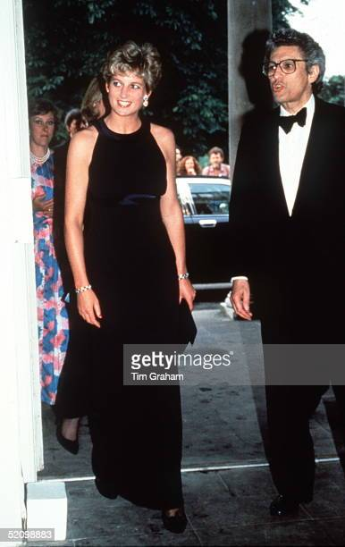 The Princess Of Wales At The Serpentine Gallery In Kensington London In A Midnight Blue Silk Crepe Evening Dress Designed By Fashion Designer Victor...