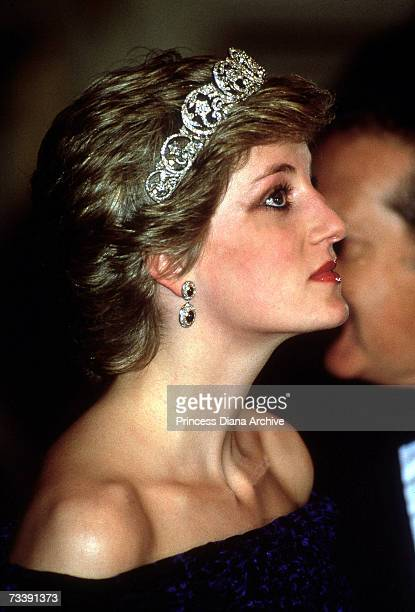 The Princess of Wales attending a banquet at the Ajuda Palace in Portugal, February 1987. She is wearing the Spencer family tiara.