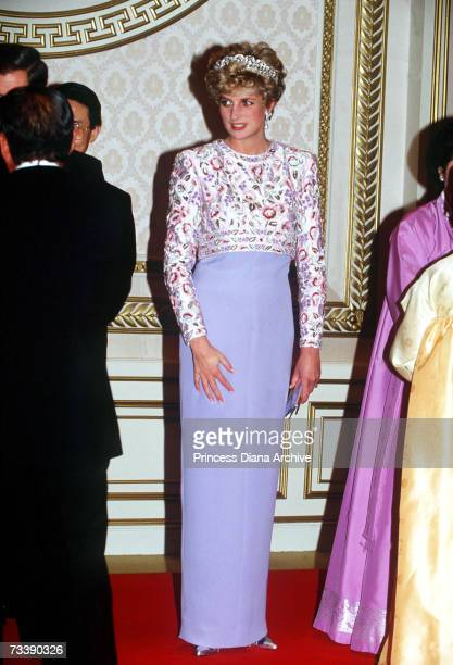 The Princess of Wales attending a banquet thrown by President Roh in Seoul, South Korea, November 1992. Diana wears the Spencer family tiara and a...