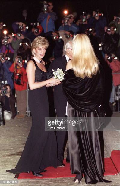The Princess Of Wales Attending A Gala Evening In Aid Of Cancer Research At Bridgewater House She Is Wearing An Outfit By Fashion Designer Jacques...