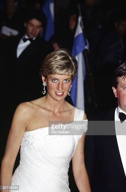 The Princess Of Wales Attending A Reception At The Municipal Theatre Of Rio During An Official Tour Of Brazil She Is Wearing A Dress Designed By...