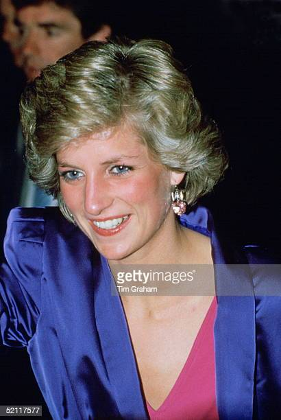 The Princess Of Wales Attending A Rock Concert In Melbourne Australia Wearing A Suit Designed By Fashion Designer Bruce Oldfield