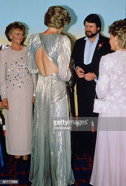 The Princess Of Wales Attending The Premiere Of The Film 'burke And Wills' In Melbourne On 1st November Wearing A Dress Designed By Fashion Designer...