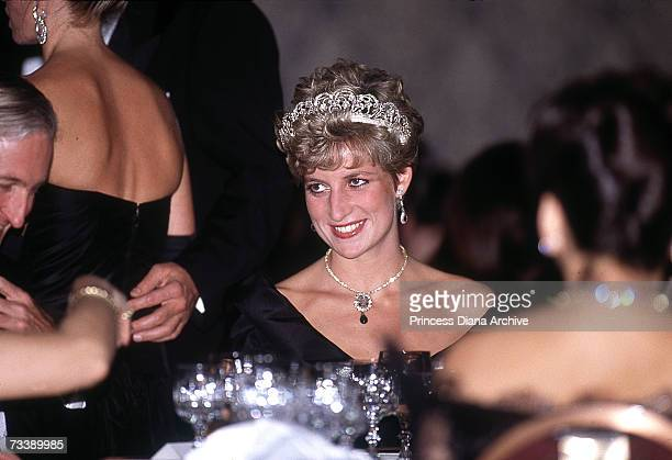 The Princess of Wales attends a gala dinner at the Royal York Hotel in Toronto during an official visit to Canada October 1991
