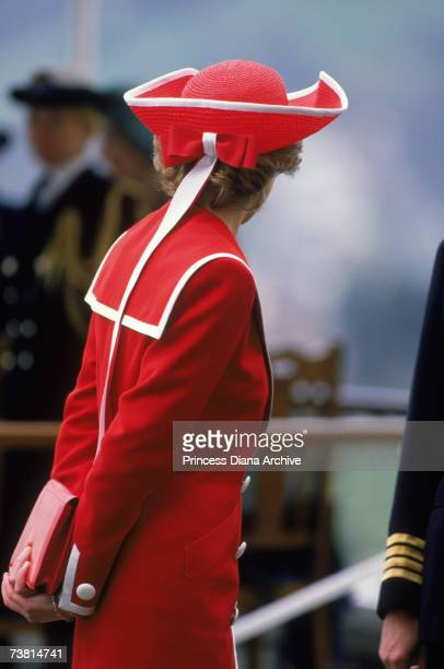 The Princess of Wales attends a passing out parade at Britannia Royal Naval College in Dartmouth Devon wearing a Catherine Walker dress and Philip...