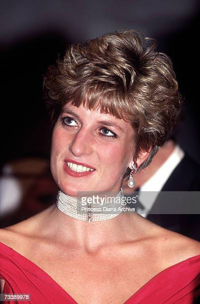The Princess of Wales attends a performance of 'Simon Boccanegra' at the Royal Opera House in Covent Garden 12th November 1991 She is wearing a red...