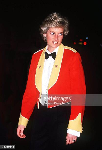 The Princess of Wales attends a regimental dinner of the Royal Hampshire Regiment in Winchester February 1990 She is wearing a mess jacket from...