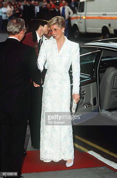 The Princess Of Wales Attends A Royal Gala Performance Of 'il Trovatore' At The Royal Opera House London Wearing A White Wrapover Lace Coat Dress...