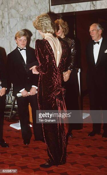 The Princess Of Wales Attends The Premiere Of 'back To The Future' At The Empire Cinema Leicester Square London Wearing A Burgundy Velvet Evening...