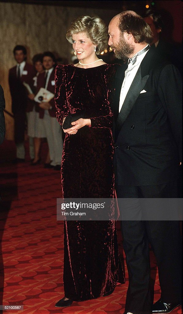 The Princess Of Wales Attends The Premiere Of 'back To The Future' At The Empire Cinema, Leicester Square, London Wearing A Burgundy Velvet Evening Dress Designed By Fashion Designer Catherine Walker