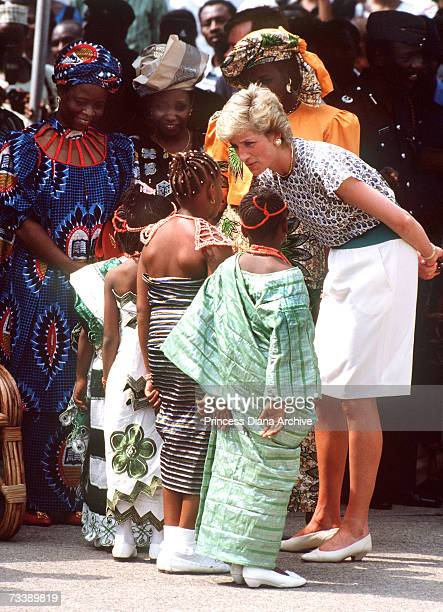 The Princess of Wales attends the Rural Women's Fair in Tafawa Balewa Square Lagos with Maryam Babangida the wife of the Nigerian president March...