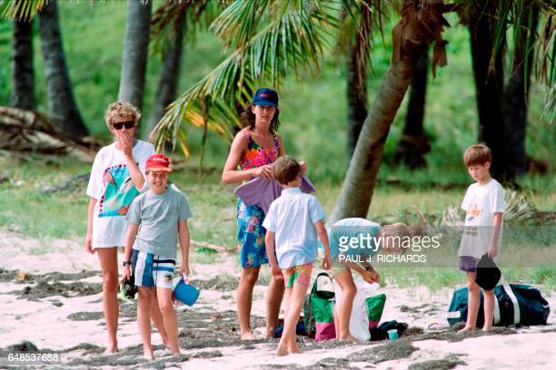 The Princess of Wales Diana pauses for a moment as her sons William and Harry and family friends set up camp at Banana Beach on January 4 1993 while...