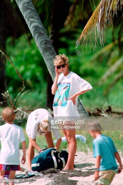 The Princess of Wales Diana pauses for a moment at Banana Beach on January 4 1993 while on a day trip Princess Diana is scheduled to leave the West...