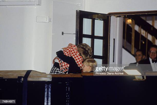 The Princess of Wales greets her sons Prince William and Prince Harry on the deck of the yacht Britannia in Toronto when they joined their parents on...