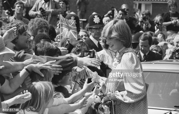 The Princess of Wales greets the crowd after opening the New Albany Community Centre in Deptford London She expects her first child in the summer...