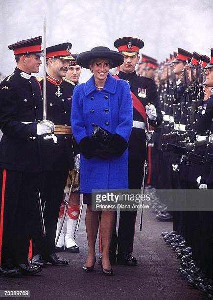 The Princess of Wales inspects the officer cadets at the Sovereign's Parade held at the Royal Military Academy in Sandhurst Surrey December 1990 The...