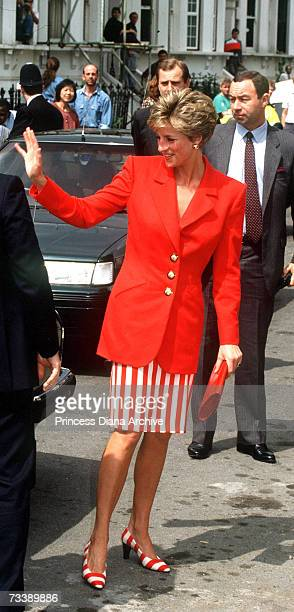 The Princess of Wales leaves a detoxification centre in Lambeth south London May 1991 She is wearing a red jacket and red and white striped skirt...