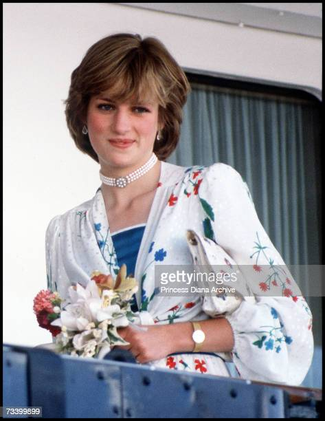 The Princess of Wales leaves Gibraltar for her honeymoon cruise on board the Royal Yacht Britannia 31st July 1981 She wears a dress by Donald Campbell