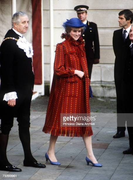 The Princess of Wales leaves the Guildhall in London on the day she announced she was pregnant with her first child November 1981 She wears a coat by...
