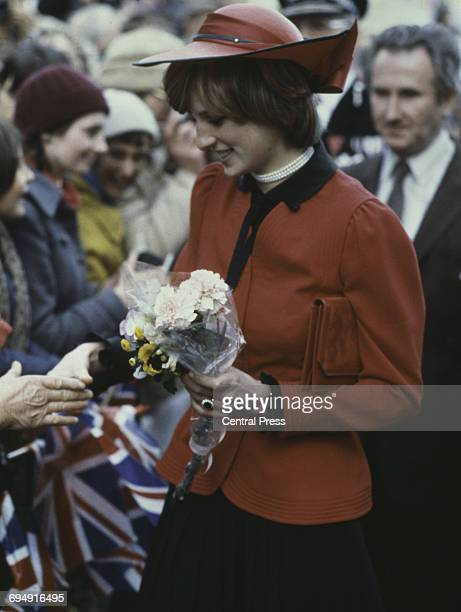 The Princess of Wales meeting the crowds during a royal tour of Wales 1981