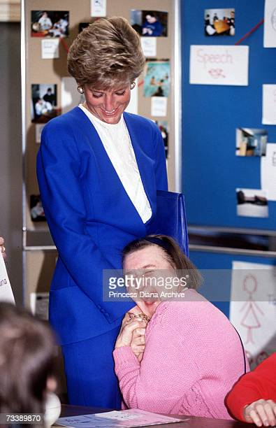 The Princess of Wales meets patients at a day care centre in Taunton Devon April 1991